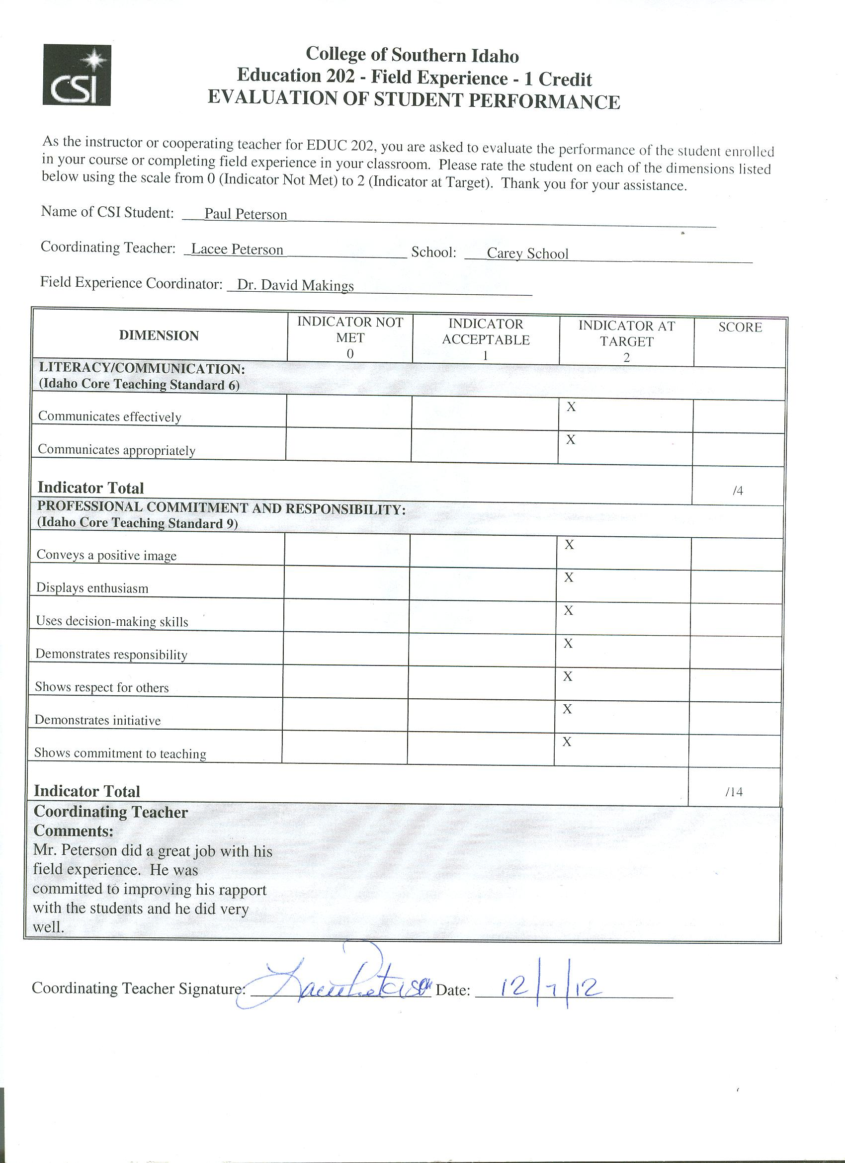 paul peterson s education portfolio table of contents diversity statement of informed beliefs individual differences student profile cover letter resume teacher education questionnaire